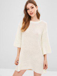 اللباس المخرم البلوز - الأبيض الدافئ
