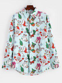 سانتا كاندي هدية طباعة قميص طويل الأكمام عيد الميلاد - أزرق فاتح 3xl