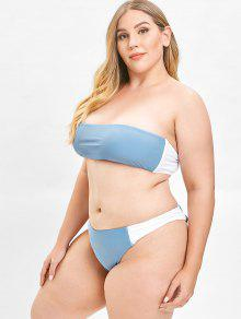 5eb3f2b5ab 44% OFF] 2019 ZAFUL Color Block Bandeau Plus Size Bikini Set In BLUE ...