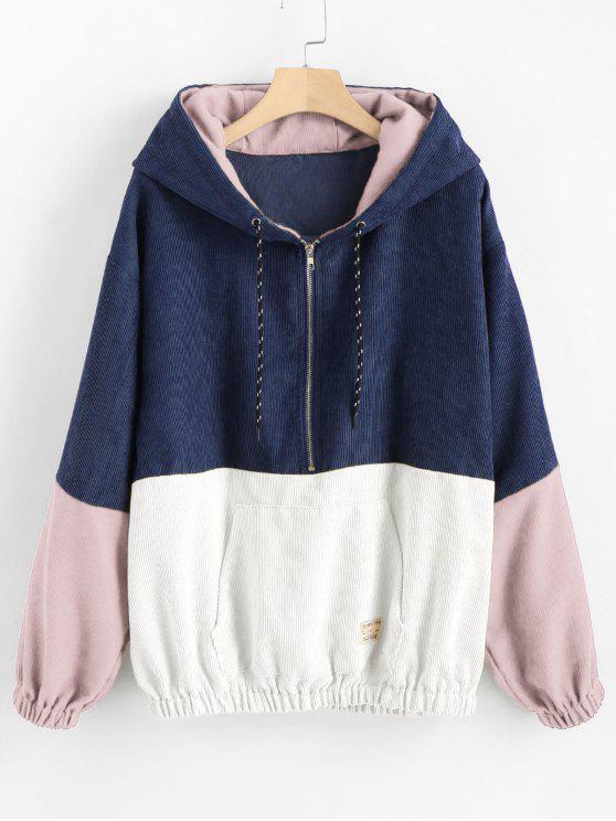 Hoodie dianteiro do veludo de algodão do contraste do bolso - Multi-B M