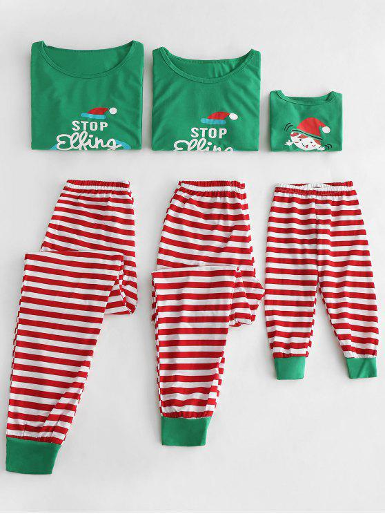 buy Graphic Stripes Family Christmas Pajamas Set - CLOVER GREEN DAD L