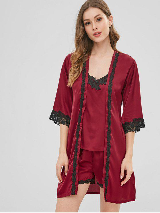 12ff8a2a38c5 NEW  2018 Satin Embroidered Trim Robe Pajamas Set In RED WINE L