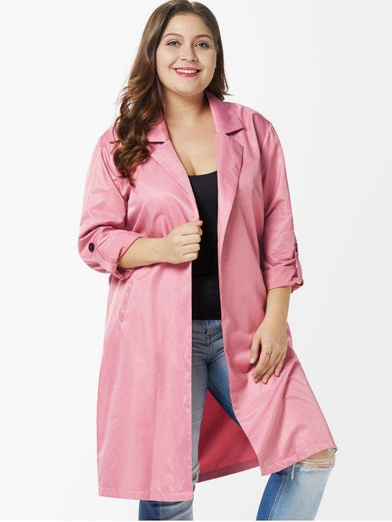 Side Slit Plus Size Casaco na altura do joelho - Rosa de Flamingo   4X