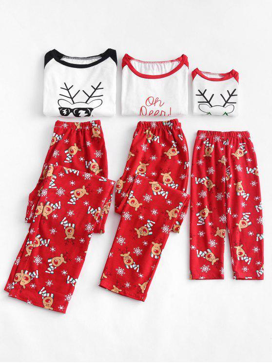 hot Reindeer Snowflake Print Family Christmas Pajamas - RED DAD XL