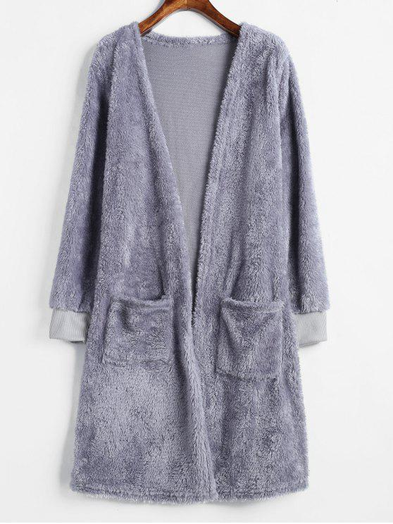 affordable Two Pocket Open Front Fluffy Coat - BLUE GRAY S