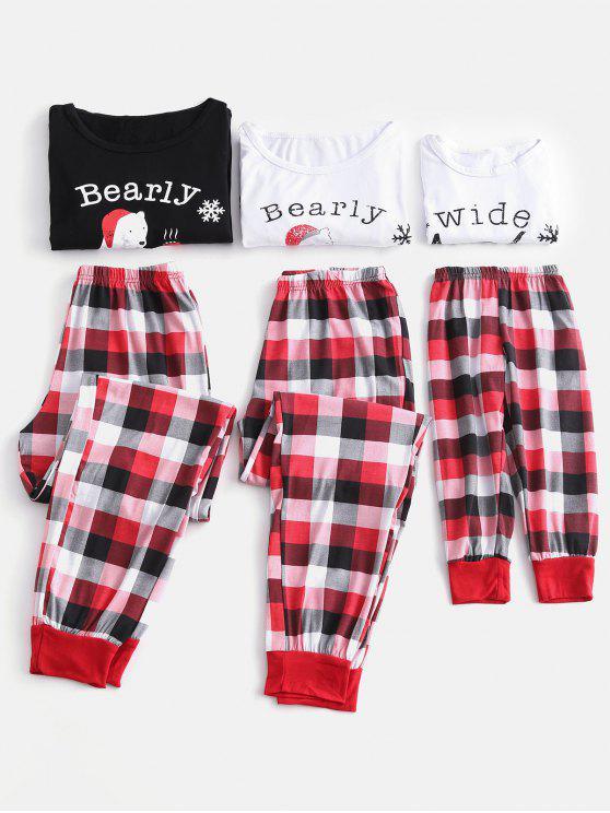 Bear Graphic Plaid Family Christmas Pajamas - Multi 3t