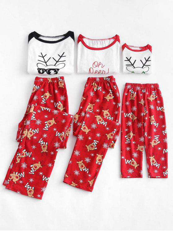 Reindeer Snowflake Print Family Christmas Pajamas - Red 3t