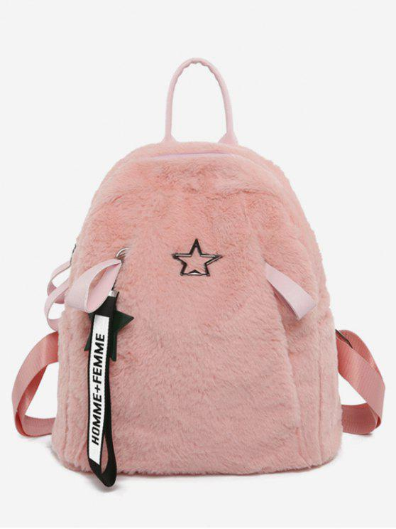 buy Star Printed Fluffy School Backpack - PINK