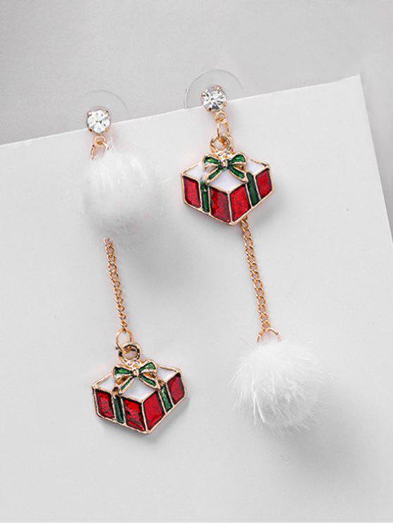 unique Asymmetric Christmas Gift and Rhinestone Earrings - RED