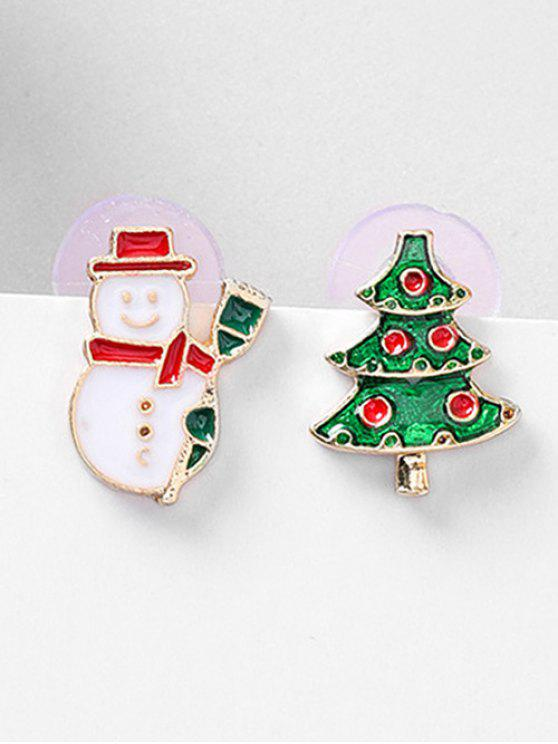 Boucles d'Oreilles Asymétriques Motif de Sapin de Noël - Rouge