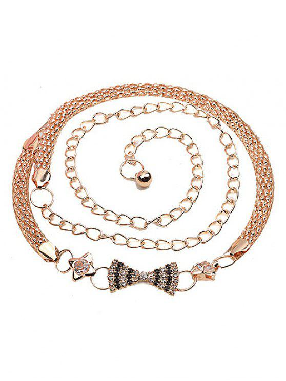 women Rhinestone Bowknot Alloy Chain Belt - GOLD