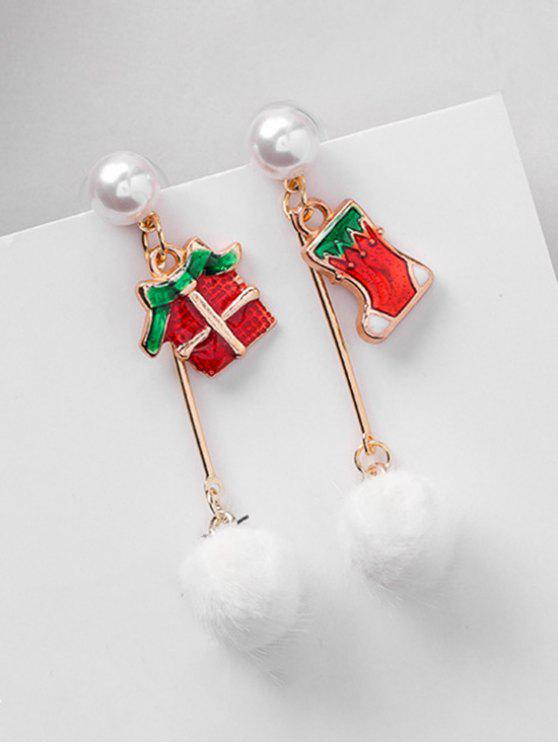 new Christmas Asymmetric Gift and Artificial Pearl Earrings - RED