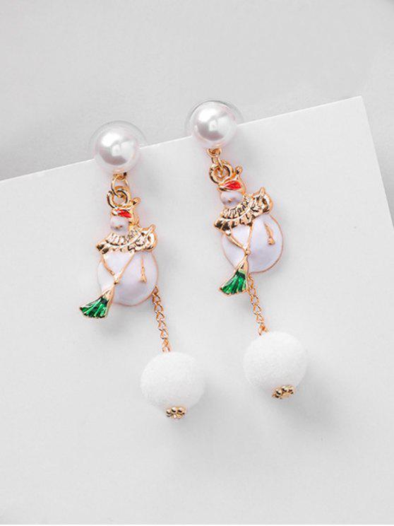 Boucles d'Oreilles Asymétriques Honhomme de Neige de Noël avec Boule Fourrée - Blanc