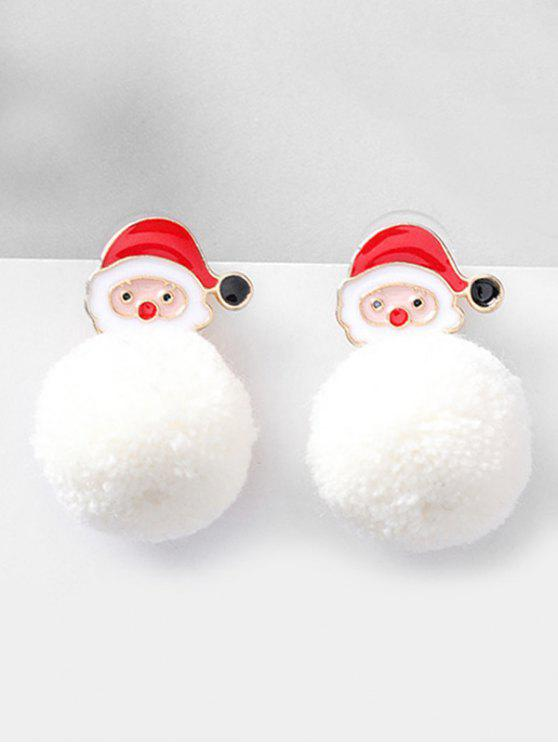 Christmas Santa and Fluffy Ball Decoration Earrings - أحمر