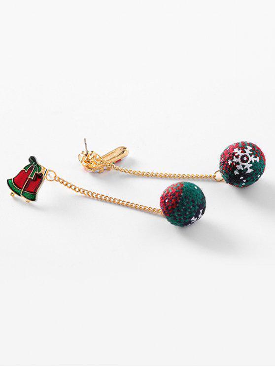 Boucles d'Oreilles Asymétriques de Noël Boule Fourrée et Flocon de Neige - Rouge