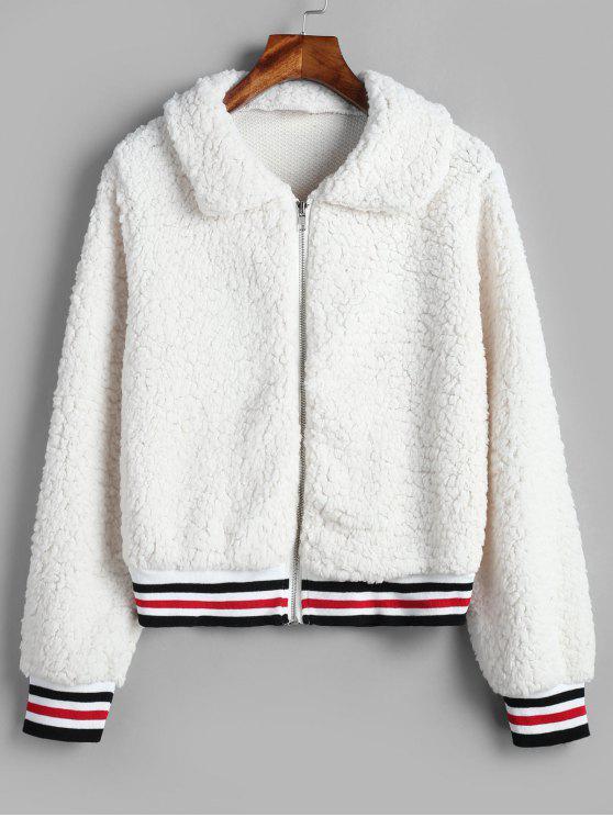 Manteau d'Hiver Fourré Court en Fausse Fourrure - Blanc M