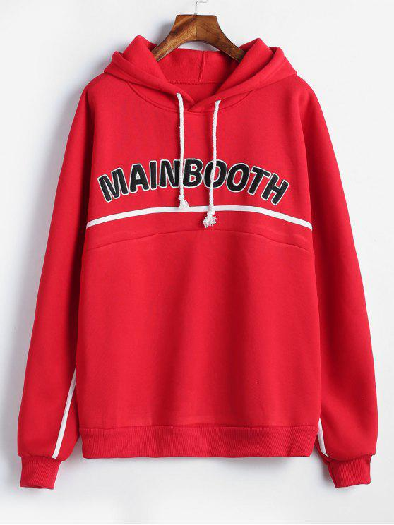best Fleece Lining Letter Graphic Hoodie - RED M