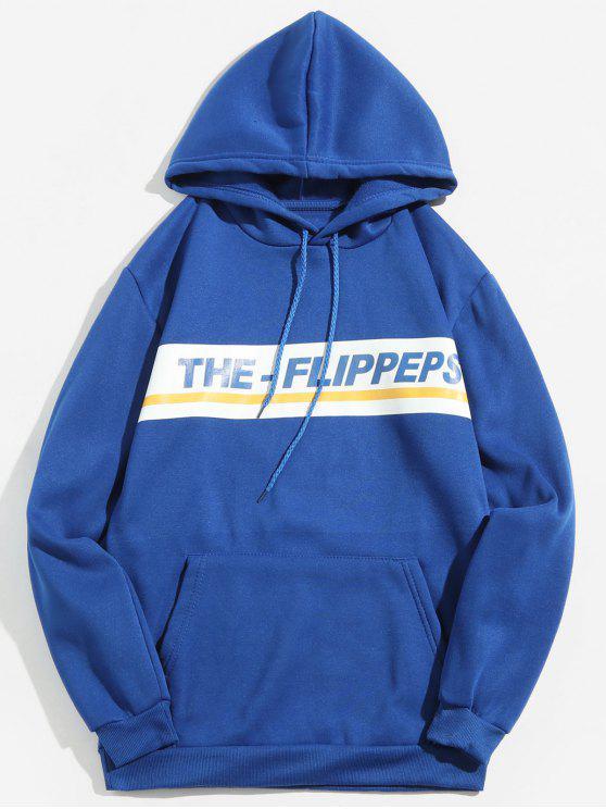Felpa Con Cappuccio Pullover In Lana Stampata Lettere - Blu XL
