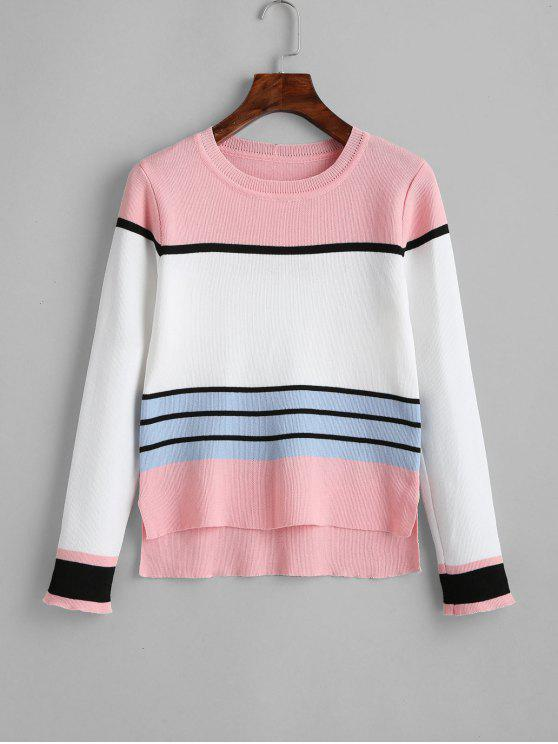 fashion High Low Slit Striped Sweater - PINK ONE SIZE