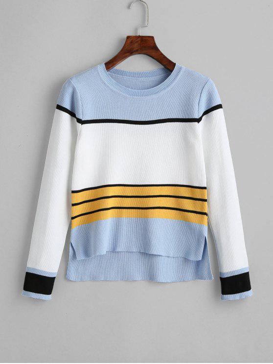 sale High Low Slit Striped Sweater - DAY SKY BLUE ONE SIZE