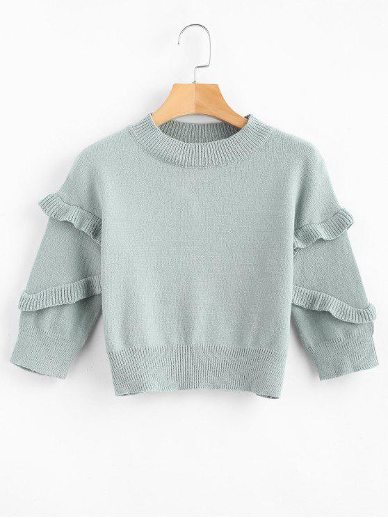 unique Frilled Cropped Sweater - DARK SEA GREEN S