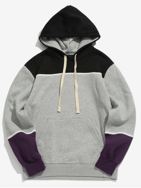 best Color Spliced Drawstring Pullover Hoodie - GRAY CLOUD L