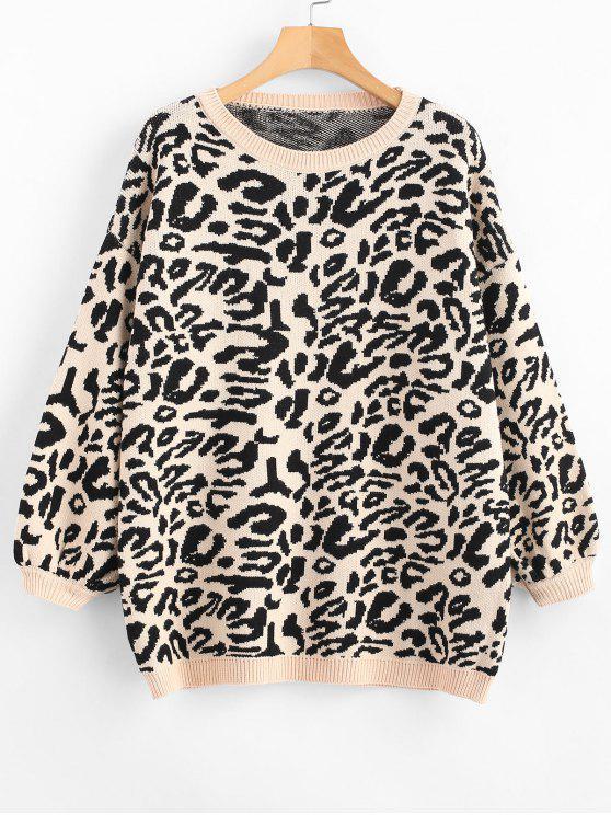 new Blouson Sleeve Leopard Jacquard Sweater - BLACK ONE SIZE