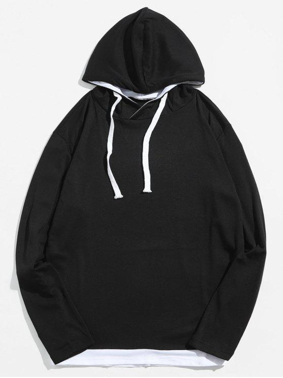 outfits Casual Contrast Spliced Drawstring Hoodie - BLACK M