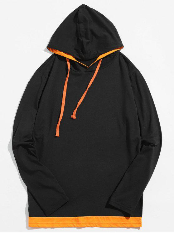 outfits Casual Contrast Spliced Drawstring Hoodie - PUMPKIN ORANGE M