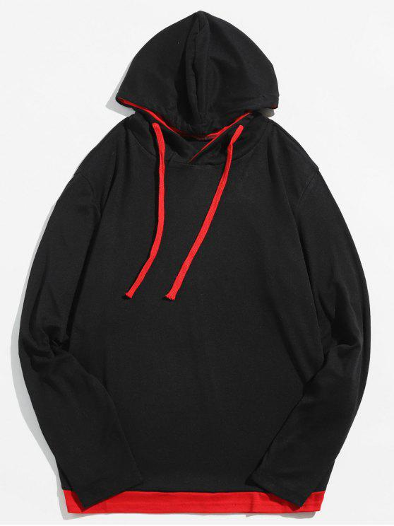 trendy Casual Contrast Spliced Drawstring Hoodie - RED S