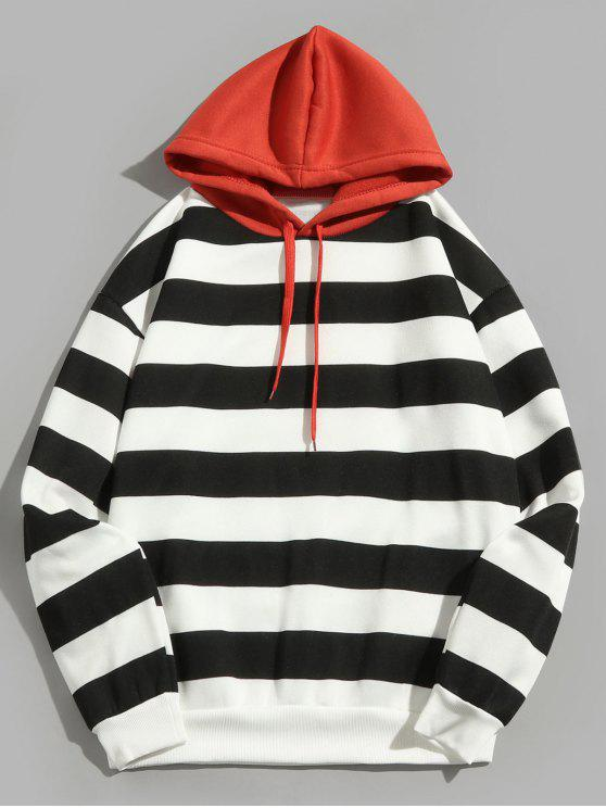 buy Contrast Striped Print Fleece Hoodie - BLACK 2XL