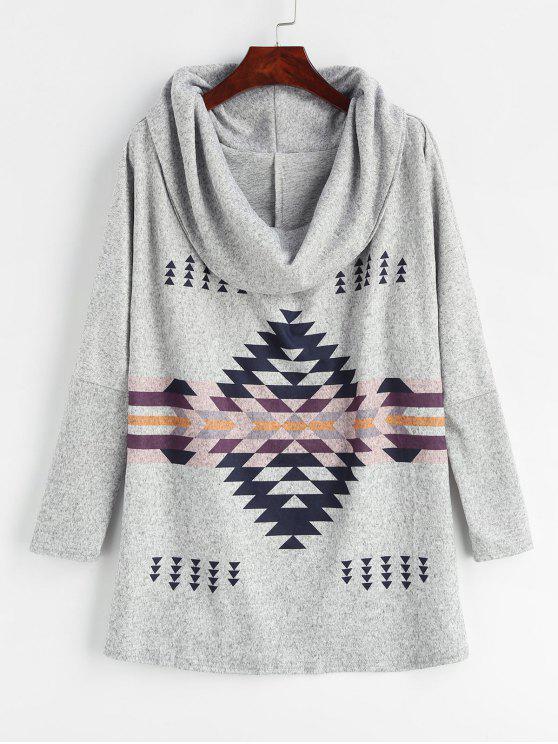 hot Cowl Neck Geometric Print Sweater - LIGHT GRAY XL