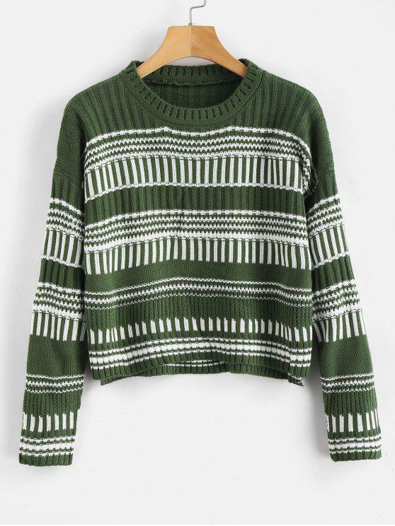 shops Striped High Low Hem Pullover Sweater - PINE GREEN ONE SIZE