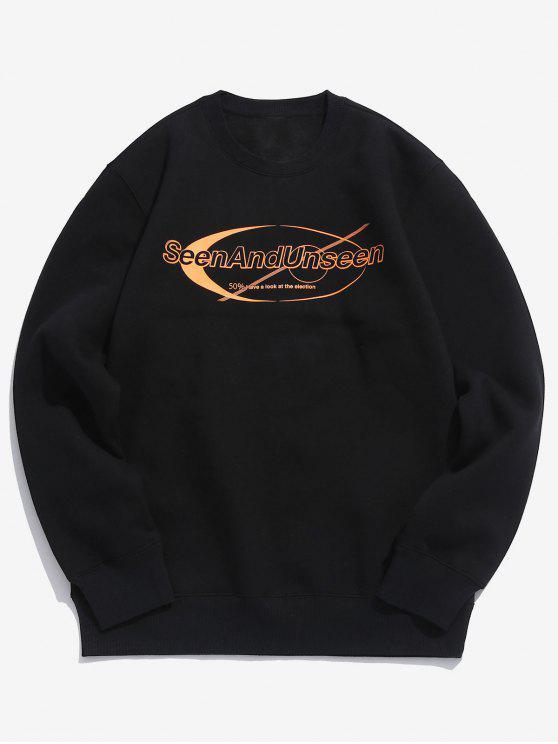 shop Pullover Letter Pattern Sweatshirt - BLACK L
