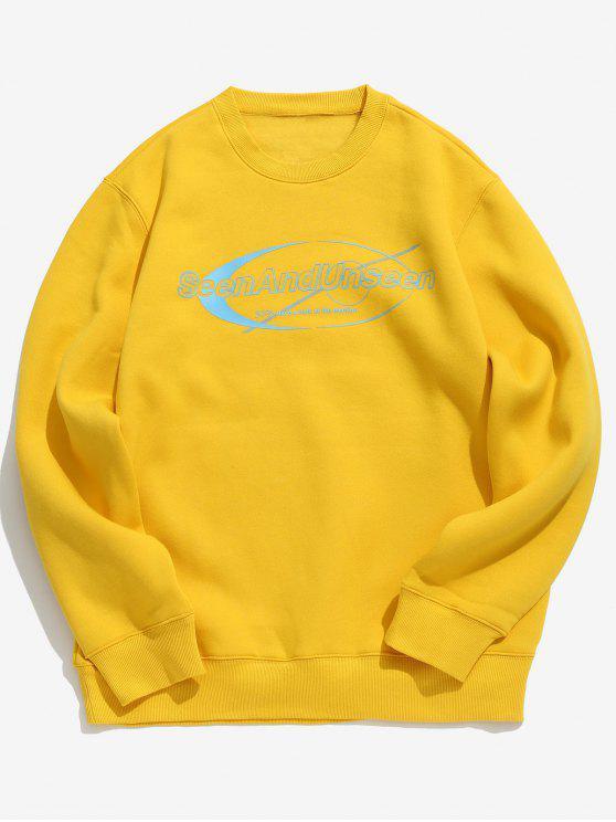shops Pullover Letter Pattern Sweatshirt - MUSTARD L