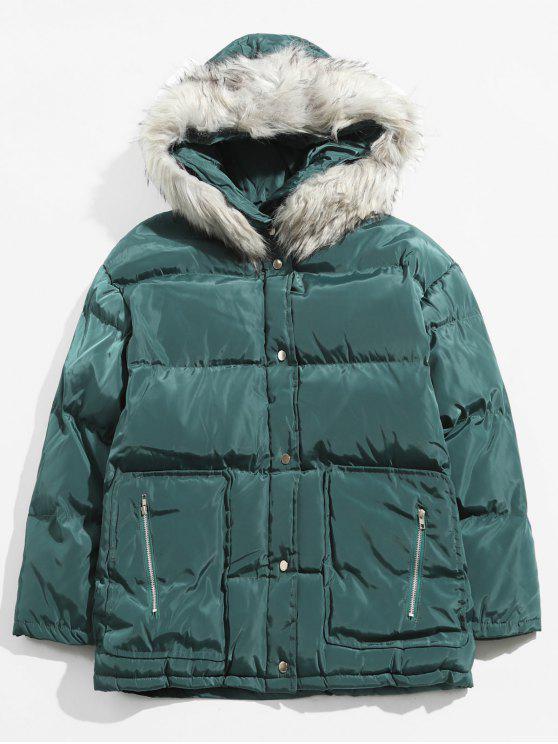 best Detachable Faux Collar Puffer Jacket - SEA TURTLE GREEN L