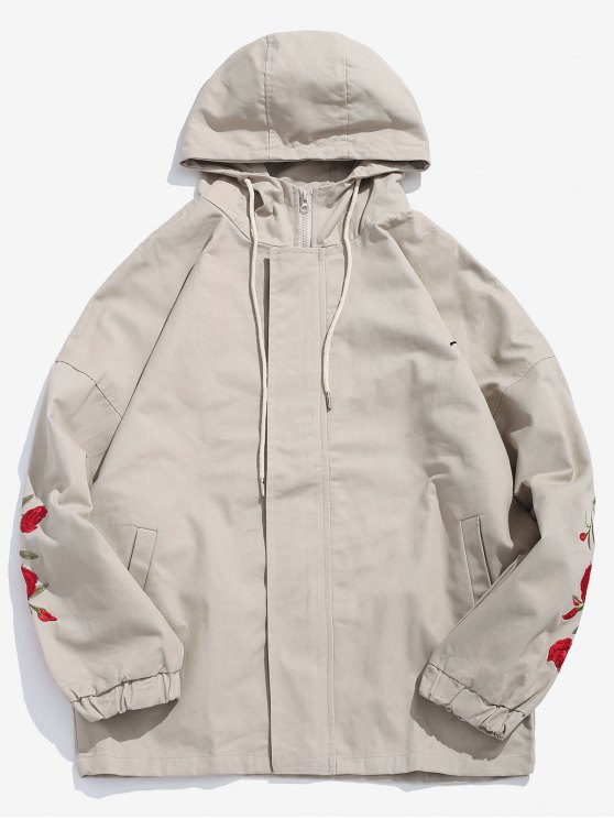 trendy Zip Fly Rose Embroider Hooded Jacket - LIGHT KHAKI L