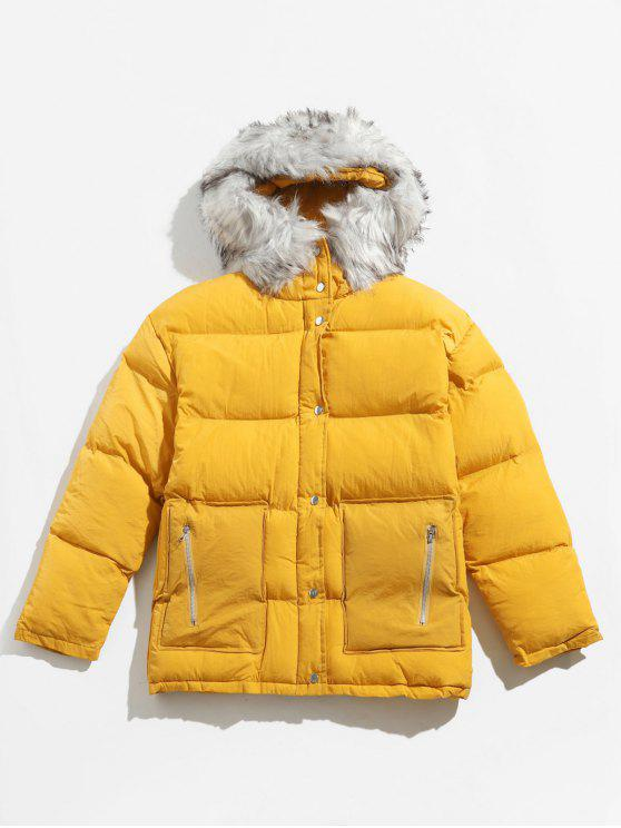 new Detachable Faux Collar Puffer Jacket - BEE YELLOW XL