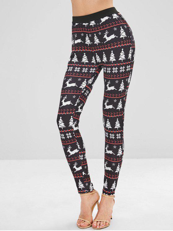 ladies Tree Elk Christmas Leggings - MULTI L