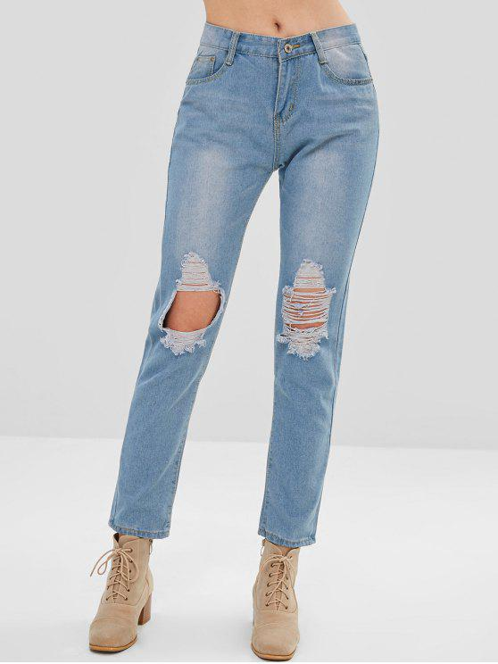 trendy Destroyed Straight Jeans - JEANS BLUE L