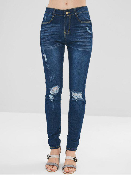 f7d4b1dc7005 35% OFF  2019 Ripped Dark Wash Skinny Jeans In DENIM DARK BLUE