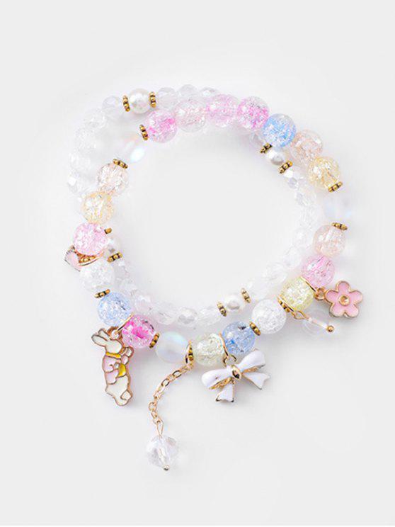 best Double Layered Bowknot Rabbit Beads Bracelet - MULTI-J