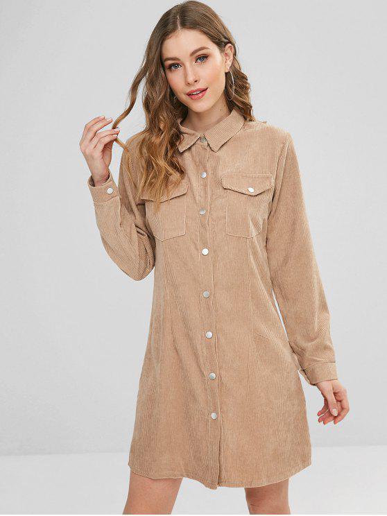 lady Snap Button Pockets Corduroy Dress - TAN XL