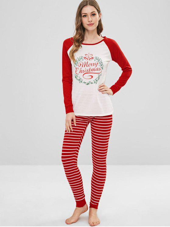 women's Graphic Christmas Stripes Pants Set - LAVA RED S