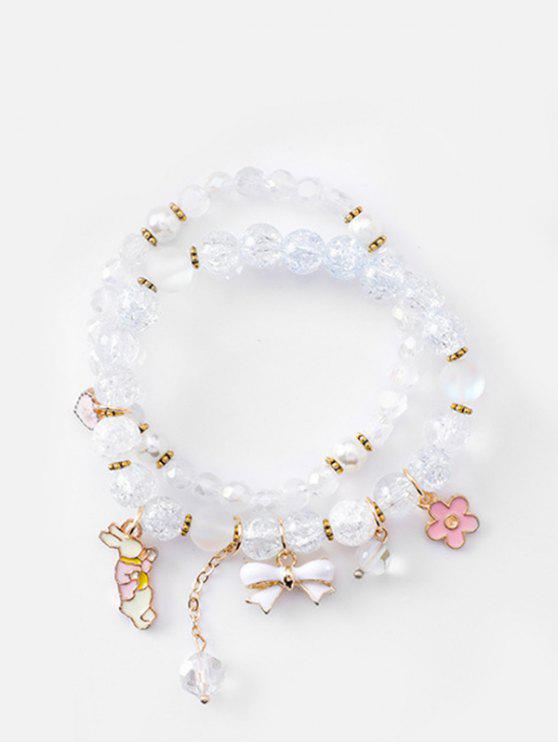 affordable Double Layered Bowknot Rabbit Beads Bracelet - LIGHT BLUE