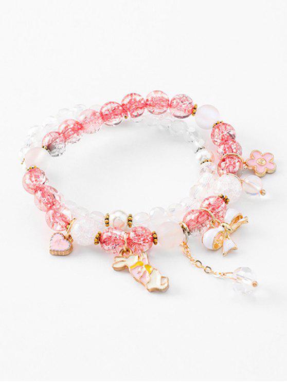 unique Double Layered Bowknot Rabbit Beads Bracelet - DEEP PINK