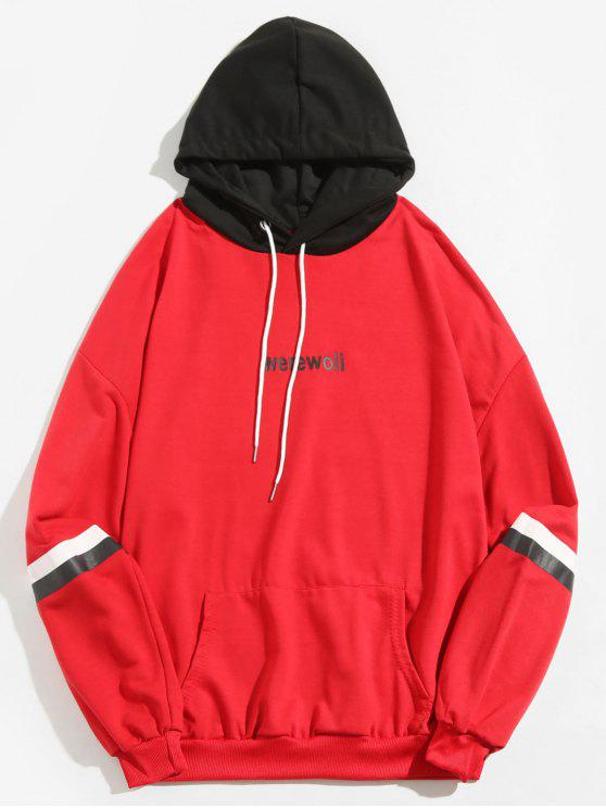 outfits Letter Stripe Print Contrast Hoodie - RED L