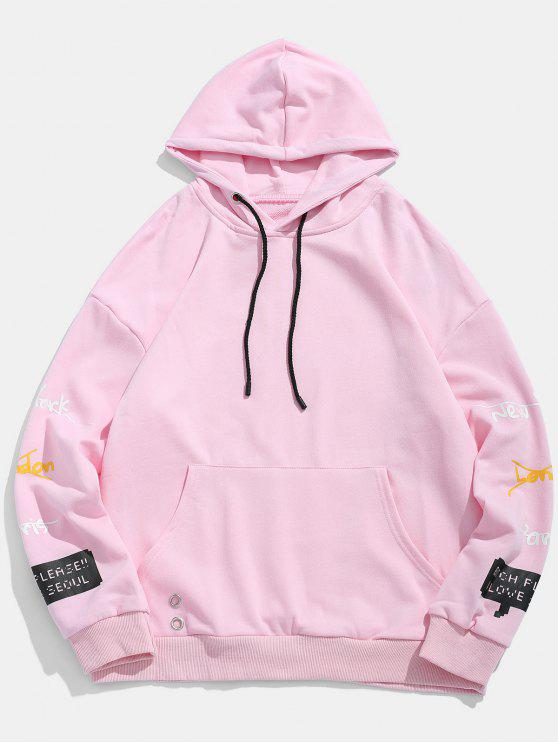 87c2352aa 35% OFF] 2019 Letter Print Embroidery Detail Hoodie In PINK | ZAFUL