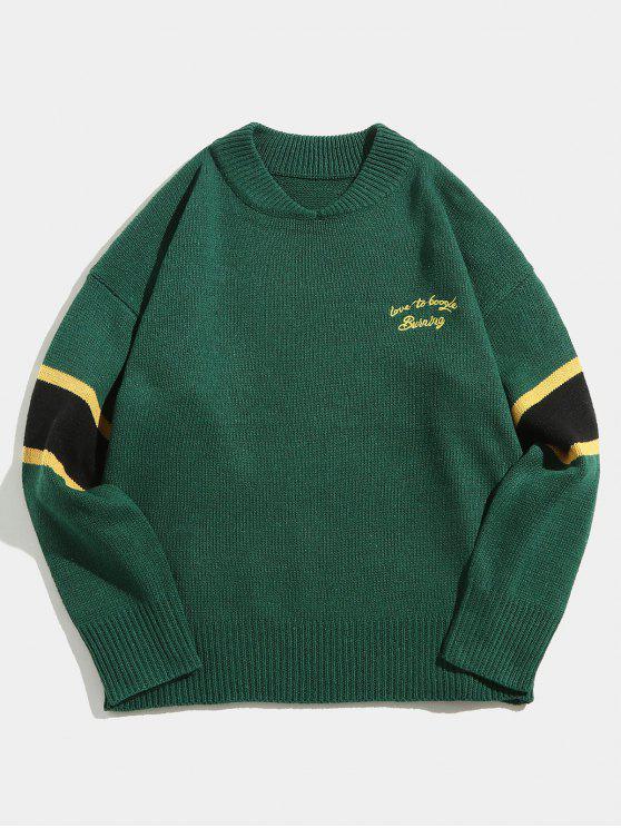 Maglione Pullover Con Stampa Lettere A Righe A Contrasto - Verde Foresta Scura L