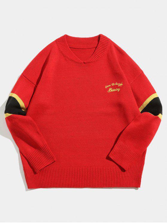 Maglione Pullover Con Stampa Lettere A Righe A Contrasto - Rosso M